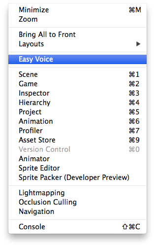 Easy Voice in Window Menu Mac