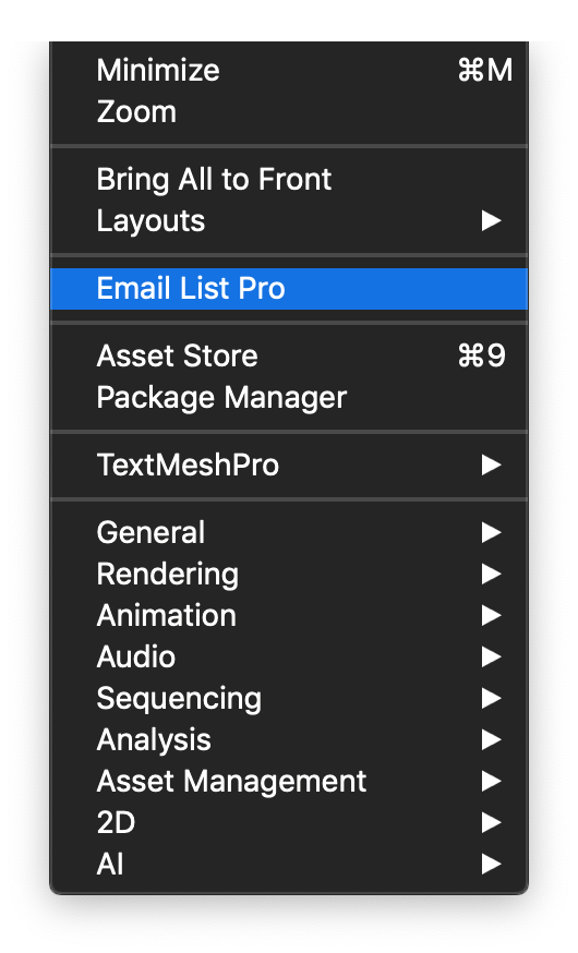 Email List Pro in Window Menu Mac